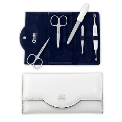 Credo Solingen Luxusný 5 dielna manikúra v bielom koženkovom puzdre Bianco 5