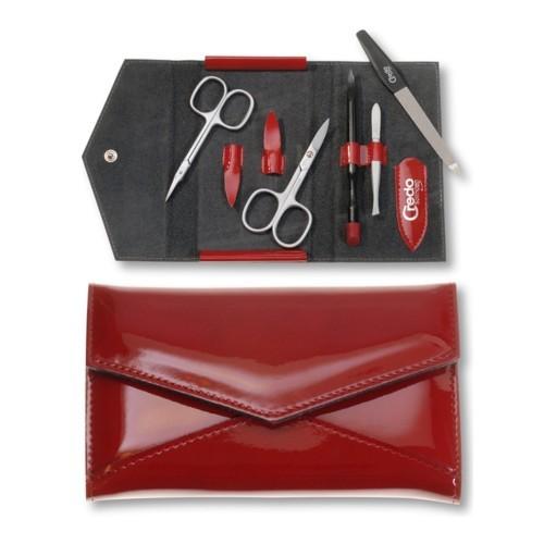 Credo Solingen Luxusný 5 dielna manikúra v červenom koženkovom puzdre Fire 5