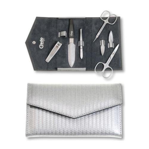 Solingen manikúra Luxurious Manicure Set Carbon 5 Luxusní 5 dílná manikúra ve stříbrném pouzdře