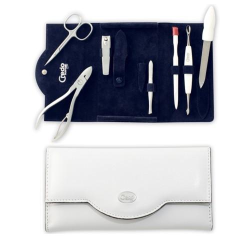 Credo Solingen Luxusní 7dílná manikúra v bílém koženkovém pouzdře Bianco 7