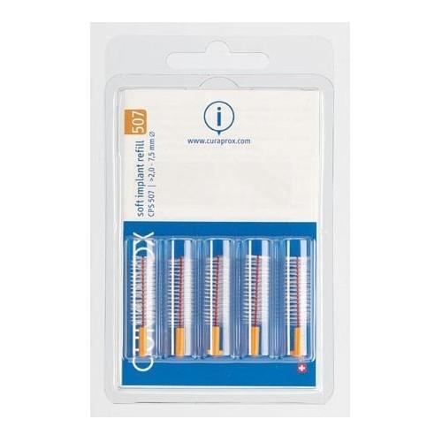 Curaprox Náhradní mezizubní kartáčky na čištění implantátů Soft Implant Oranžová (Refill) CPS 507 5 ks