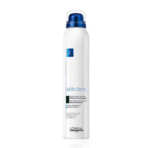 Loreal Professionnel Barevný sprej pro zakrytí řídnoucích vlasů Serioxyl Volumizing Coloured (Denser Hair Spray) 200 ml Black