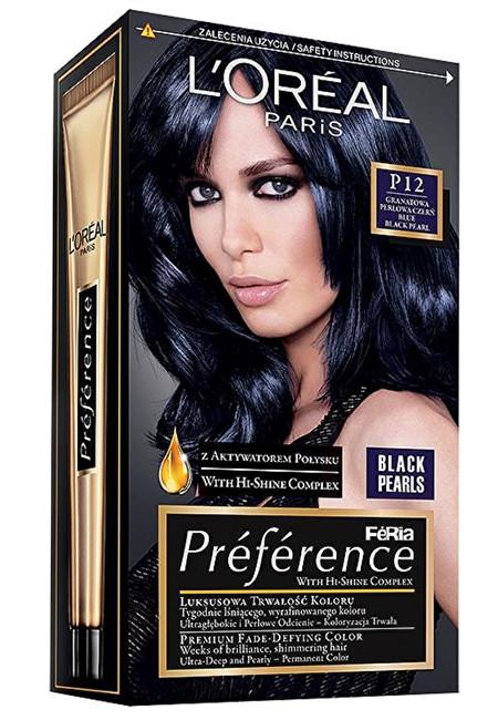 Loreal Paris Barva na vlasy Préférence Black Pearls P12 Black Blue