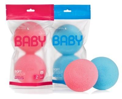 Suavipiel Dětská měkká houba na mytí (Baby Soft Sponge X2) Modrá