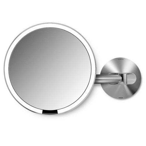 Simplehuman Dobíjacie kozmetické zrkadlo na stenu Sensor s LED osvetlením, 5x zväčšenie Lesklá nerez ocel