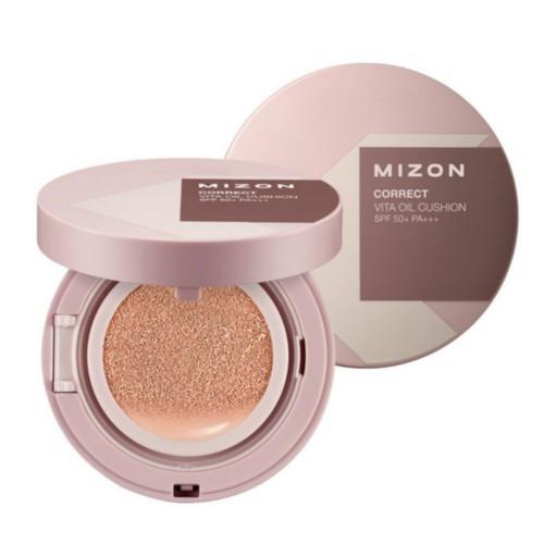 Mizon Fluidní korekční make-up s rakytníkem a SPF 50+ s náhradní náplní (Correct Vita Oil Cushion SPF 50+ And Refill) 2 x 15 g Light Beige