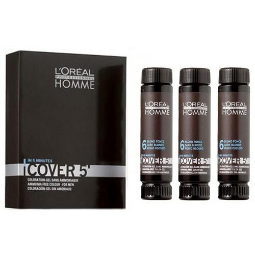 Loreal Professionnel Gelová barva na vlasy pro muže Homme Cover 5 3 x 50 ml 4 Medium Brown