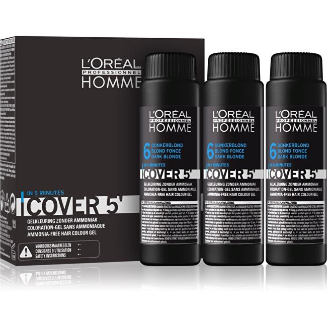Loreal Professionnel Gélová farba na vlasy pre mužov Homme Cover 5 3 x 50 ml 5 Light Brown