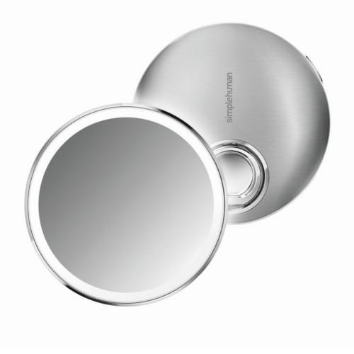 Simplehuman Kapesní dobíjecí kosmetické zrcátko Sensor Compact s LED osvětlením, 3x zvětšení Matná nerez ocel