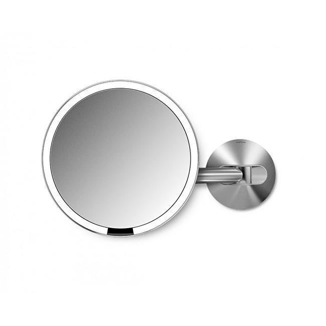 Simplehuman Síťové kosmetické zrcátko na zeď Sensor s LED osvětlením, 5x zvětšení Matná nerez ocel