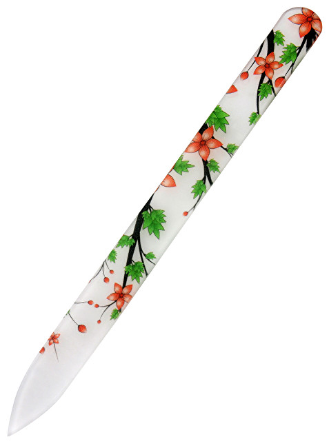 DuKaS Skleněný pilník na nehty s digitálním potiskem Červený s kytičkou