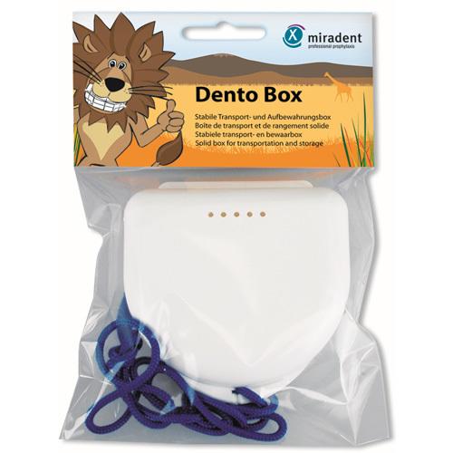 Miradent Spolehlivé úložné pouzdro pro děti Dento Box Modré se žlutou šňůrou