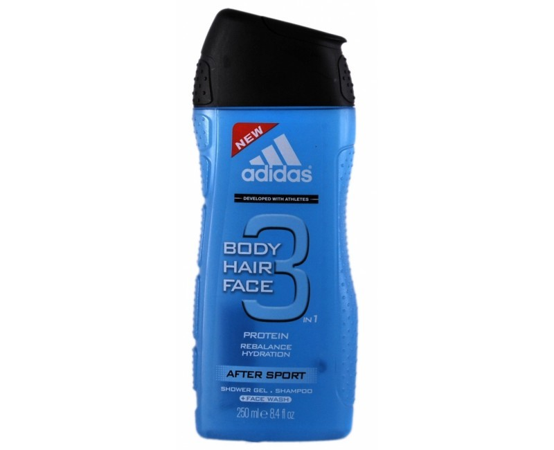 Adidas Gel de duș și șampon pentru bărbați 3in1 Body Hair Face After Sport (Shower Gel & Shampoo) 400 ml
