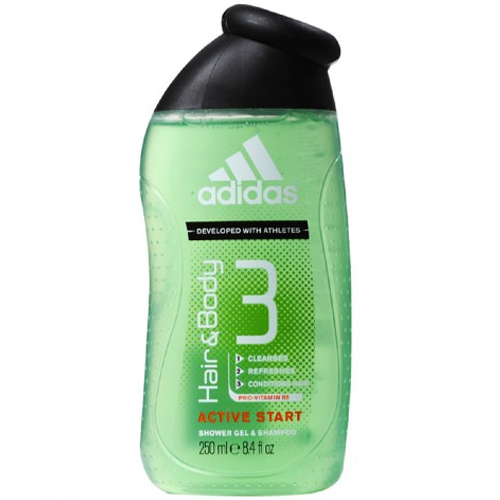 Adidas Sprchový gel a šampon pro muže 3 v 1 Hair & Body Active Start (Shower Gel, Shampoo, Face Wash) 250 ml