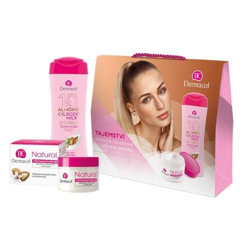 Dermacol Almond Oil pro ženy tělové mléko 250 ml + Natural denní krém 50 ml dárková sada