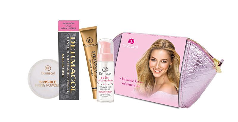 Dermacol Invisible transparentný fixačný púder 13 g + podklad pod make-up Satin Make-Up Base 30 ml + make-up Cover SPF30 30 g + kozmetická taštička darčeková sada