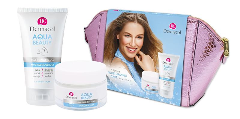 Dermacol Aqua Beauty hydratační krém 50 ml + mycí gel na obličej 150 ml + kosmetická taštička dárková sada