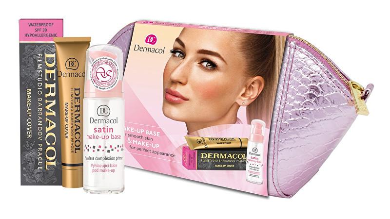 Dermacol Satin podklad pod make-up 30 ml + make-up Cover SPF30 30 g + kozmetická taštička darčeková sada
