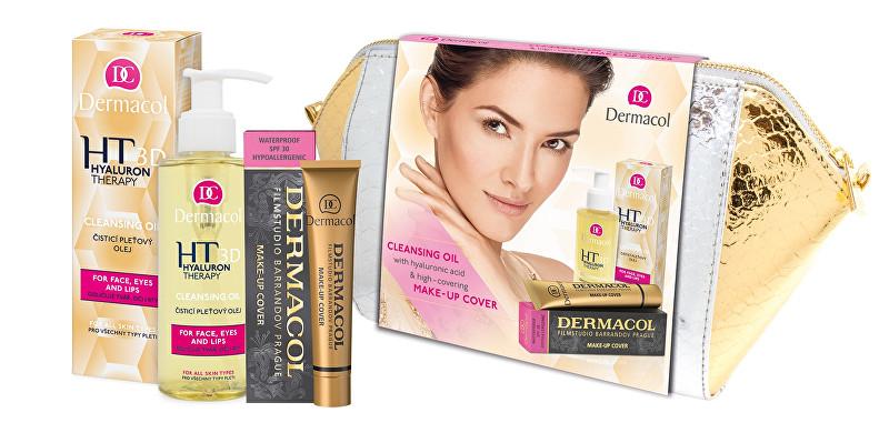 Dermacol pre ženy 3D Hyaluron Therapy: Čistiaci pleťový olej Hyaluron Therapy 3D (Cleansing Oil) 150 ml + Make-up Cover pre jasnú a zjednotenú pleť 30 g Darčeková sada