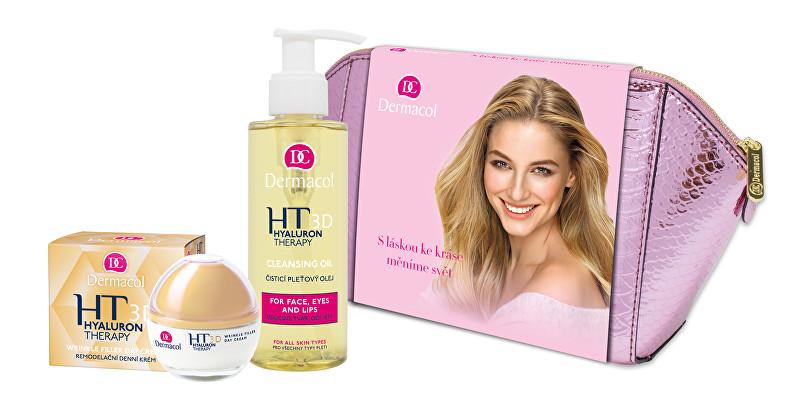 Dermacol 3D Hyaluron Therapy pro ženy remodelační denní pleťová péče 50 ml + čisticí pleťový olej 150 ml + kosmetická taštička dárková sada