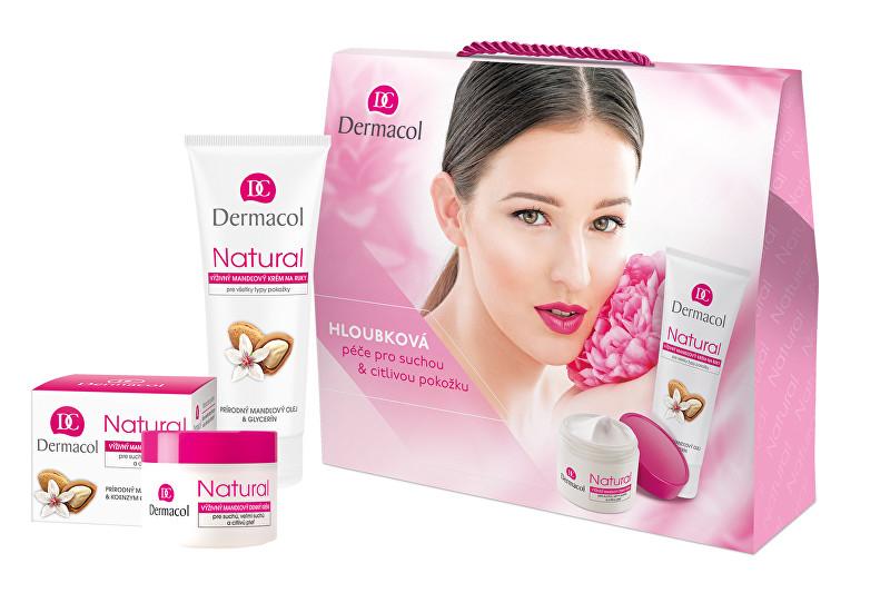 Dermacol Natural Almond denní pleťový krém 50 ml + krém na ruce 100 ml dárková sada