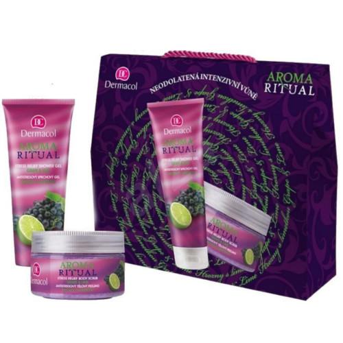 Dermacol Aroma Ritual Grape & Lime sprchový gel 250 ml + tělový peeling 200 ml dárková sada