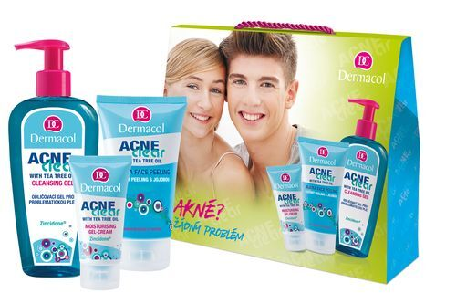 Dermacol AcneClear pro ženy odličovací gel 200 ml + hydratační gel-krém 50 ml + pleťový peeling 150 ml dárková sada