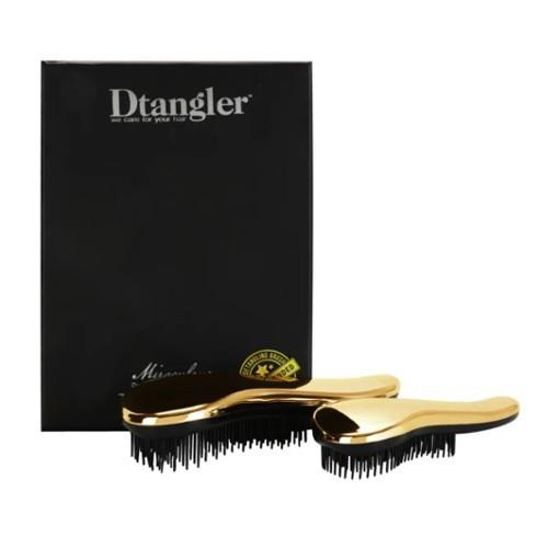 Detangler Miraculous Set Gold kartáč na rozčesávání vlasů s rukojetí zlatý dárková sada