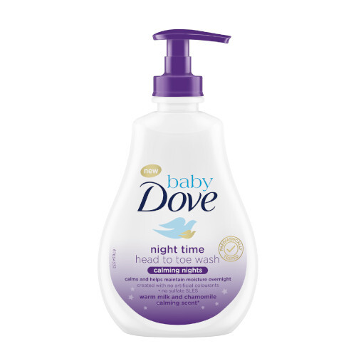 Dove Umývací gél na telo a vlásky s vôňou harmančeka Calming Nights Baby (Night Time Head To Toe Wash) 400 ml