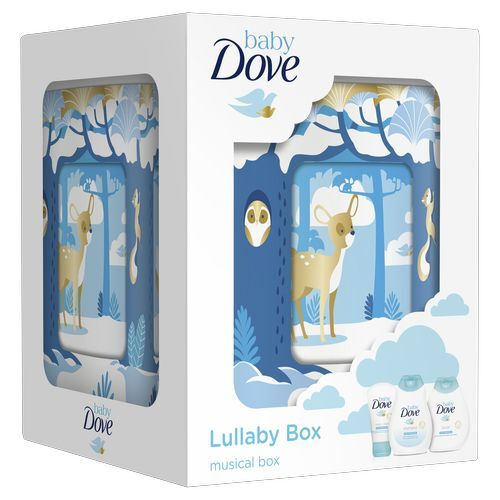 Dove Baby Rich Moisture šampon na tělo a vlasy pro děti 200 ml + telové mlieko 200 ml + krém na opruzeniny 45 g + hrací skříňka darčeková sada