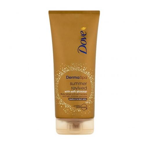 Dove Tónovací tělové mléko se třpytkami Derma Spa Summer Revived Dark (Body Lotion) 200 ml