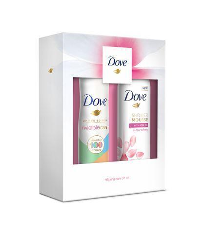 Dove Rose Oil sprchová pěna pro ženy 200 ml + Invisible Care Touch antiperspirant deosprej pro ženy 150 ml dárková sada