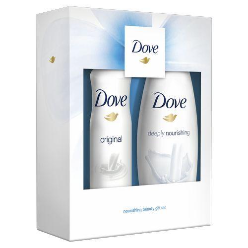 Dove Nourishing beauty Deeply Nourishing sprchový gel pro ženy 250 ml + Dove Original antiperspirant sprej pro ženy 150 ml dárková sada