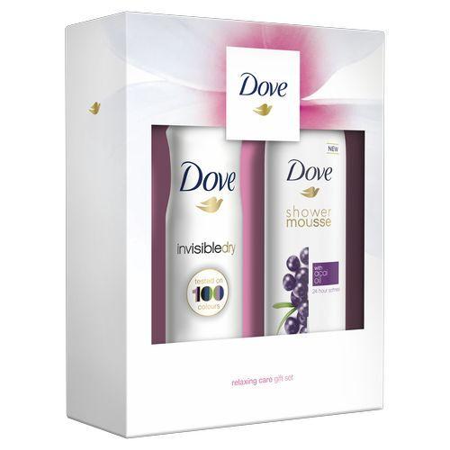 Dove Acai olej sprchová pěna pro ženy 200 ml + Invisible Dry Clean Touch deosprej pro ženy 150 ml dárková sada