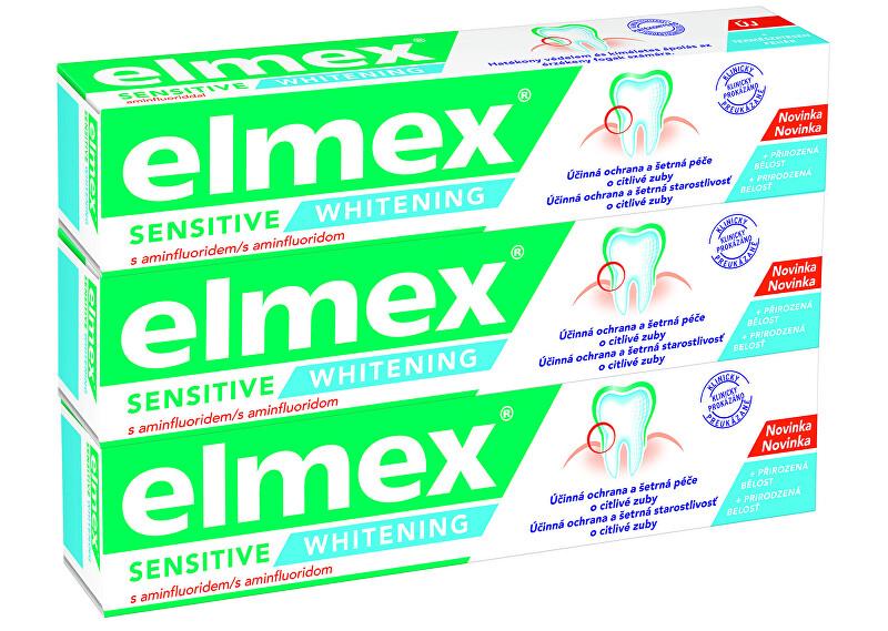 Elmex Bieliace zubná pasta pre citlivé zuby Sensitiv e Whitening 3 x 75 ml