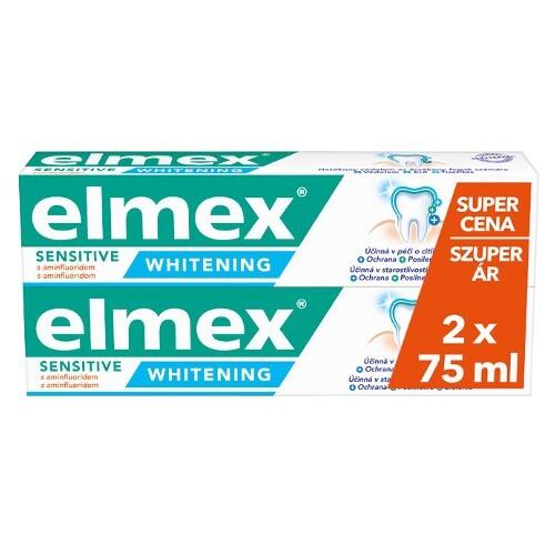 Elmex Bieliace zubná pasta pre citlivé zuby Sensitiv e Whitening Duopack 2x 75 ml -ZĽAVA - poškodený obal
