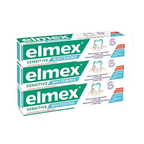 Elmex Bieliace zubná pasta pre citlivé zuby Sensitiv e Whitening Trio 3x 75 ml