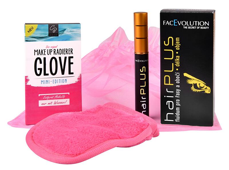 FacEvolution Dárková sada Růstové sérum pro řasy a obočí Hairplus 4,5 ml + Odličovací rukavice