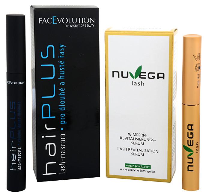 FacEvolution Dárkový balíček Veganské růstové sérum pro řasy a obočí (Nuvega Lash) 3 ml + Objemová řasenka Hairplus 6 ml dárková sada