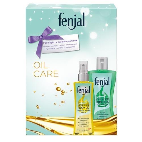 Fenjal Oil sprchový olej 200 ml + tělový olej 150 ml + masážní žínka dárková sada