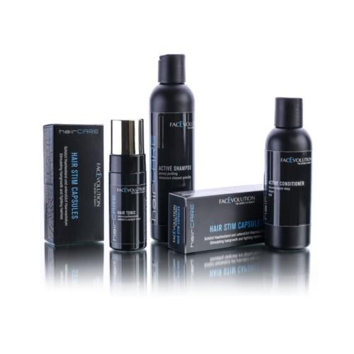 FacEvolution HairCare vlasová péče Active šampon 200 ml + Active kondicionér 150 ml + Hair tonikum 50 ml + kapsle pro podporu růstu vlasů 2 x 30 kapslí Dárková sada
