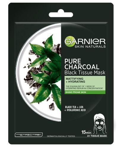 Garnier Pure Charcoal černá textilní maska s extraktem z černého čaje 28 g