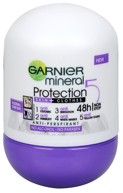 Garnier Minerální antiperspirant 5 Protection Floral Fresh 48h Roll-on pro ženy 50 ml