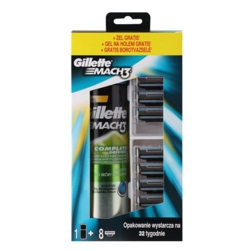 Gillette Mach 3 náhradní hlavice 8 kusů + Gillette Mach 3 Sensitive gel na holení 200 ml dárková sada
