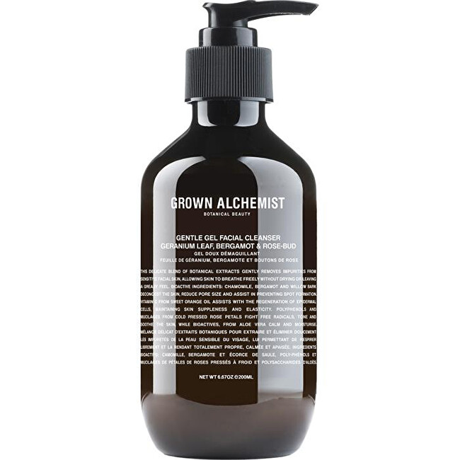 Grown Alchemist Čisticí pleťový gel Geranium Leaf, Bergamot & Rose-Bud (Gentle Gel Facial Cleanser) 200 ml