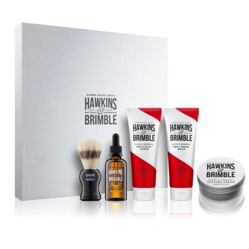 Hawkins & Brimble vyživujúci olej na fúzy a fúzy 50 ml + krém na holenie 100ml + balzam po holení 125 ml + pleťový peeling 125 ml + štetku na holenie pre mužov darčeková sada