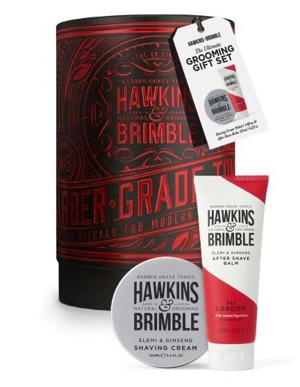 Hawkins & Brimble Darčeková sada krém na holenie + balzam po holení