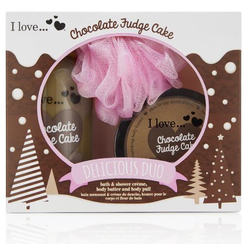 I Love Dárková sada s vůní čokoládového dortu Chocolate Fudge Cake (Delicious Duo) - SLEVA - poškozená krabička