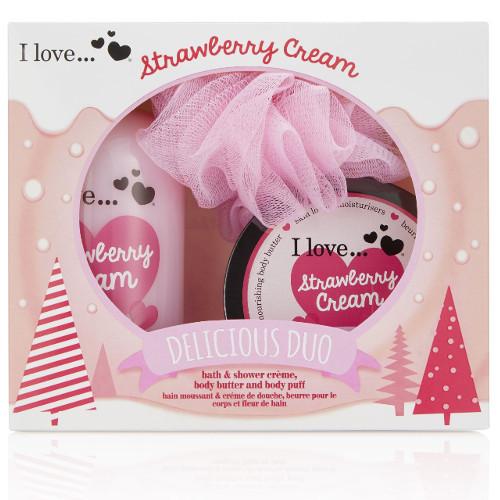 I Love Dárková sada s vůní jahod a sladkého krému Strawberry Cream (Delicious Duo)
