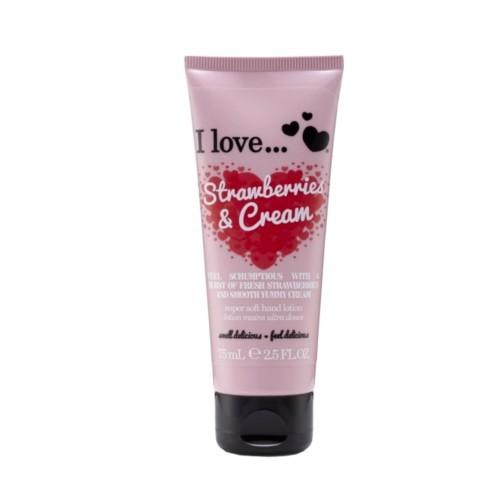 I Love Vyživujúci krém na ruky s vôňou jahôd s krémom (Strawberries & Cream Super Soft Hand Lotion) 75 ml